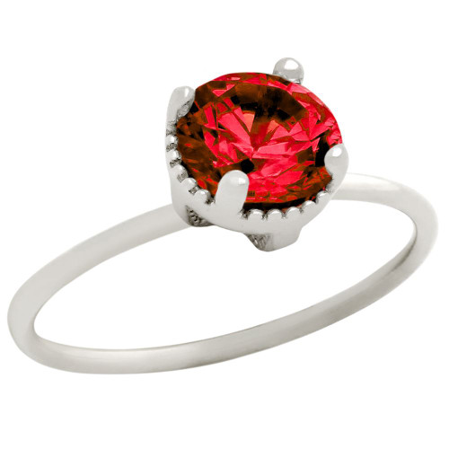 RHODIUM PLATED JANUARY BIRTHSTONE GARNET RED ROUND CZ RING