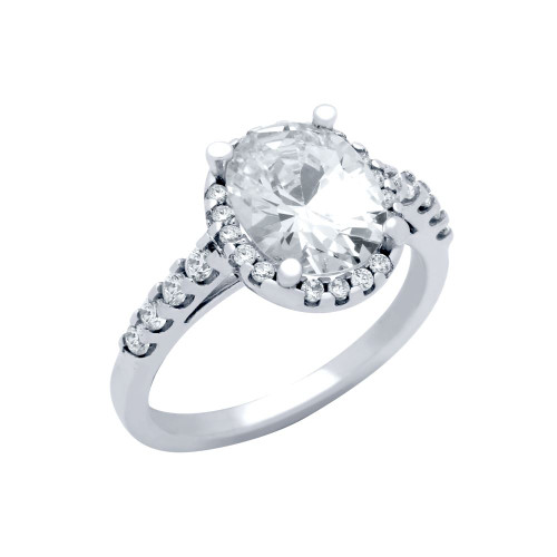 RHODIUM PLATED OVAL CZ ENGAGEMENT RING WITH 8 CZS ON BAND
