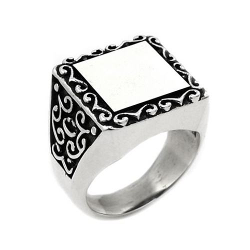 TWISTED BLADE SQUARE ENGRAVABLE INTRICATE SWIRL PATTERN RING