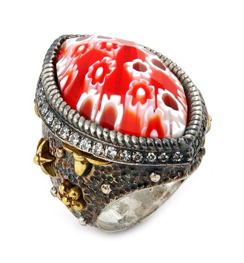 SIGNATURE COLLECTION FACETED RED MURANO GLASS MARQUISE RING WITH COPPER AND SIGNITY CZ ACCENT