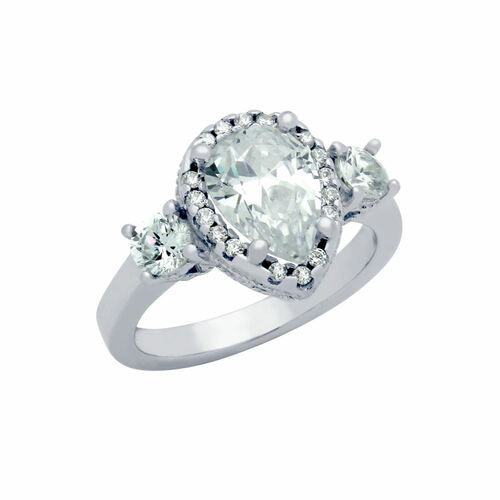 RHODIUM PLATED TEARDROP CZ ENGAGEMENT RING