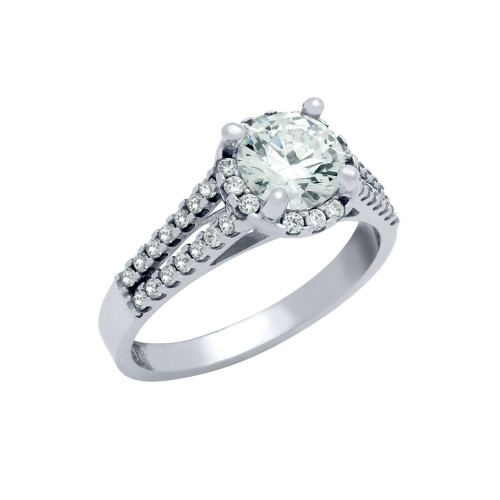 RHODIUM PLATED ROUND CZ HIGH SETTING STYLE DOUBLE ROW SIDES ENGAGEMENT RING