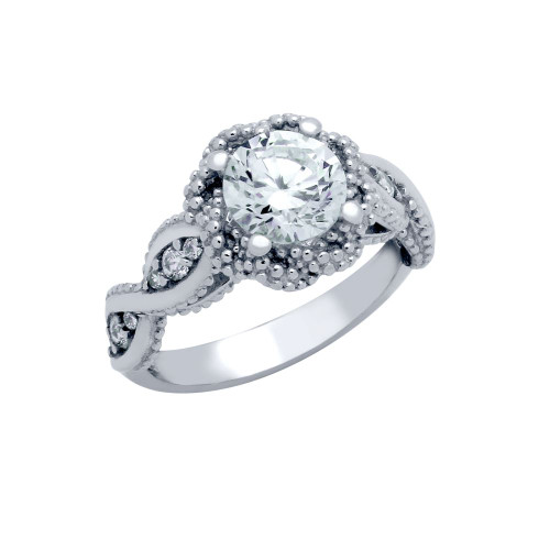 RHODIUM PLATED ROUND BRAIDED DESIGN CZ ENGAGEMENT RING
