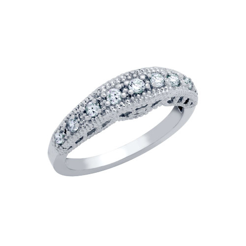 RHODIUM PLATED BRANCH CZ DESIGN WEDDING BAND RING