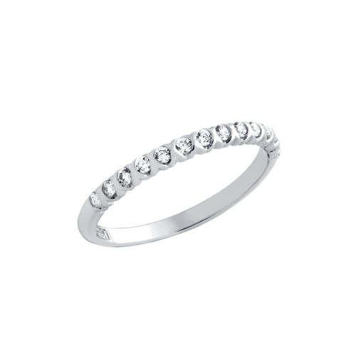 RHODIUM PLATED XO HALF CIRCULAR DESIGN CZ WEDDING BAND RING