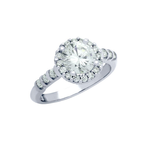 RHODIUM PLATED ROUND CZ BEADED ARCH STYLE ENGAGEMENT RING
