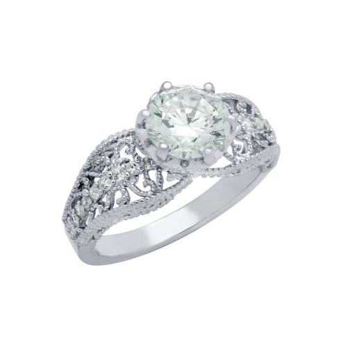 RHODIUM PLATED ROUND CZ BEADED DETAIL SEE THROUGH ENGAGEMENT RING