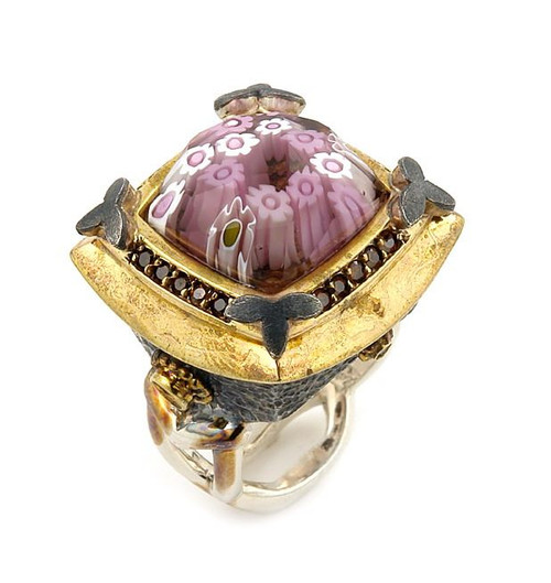 SIGNATURE COLLECTION FACETED PINK MURANO GLASS SQUARE RING WITH BRASS SIGNITY CZ ACCENTS