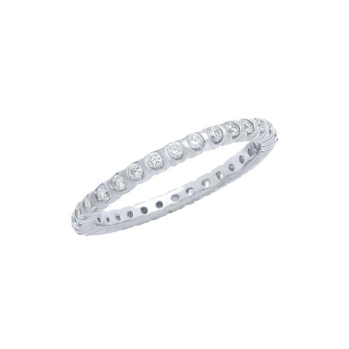 RHODIUM PLATED XO CIRCULAR DESIGN CZ WEDDING BAND RING