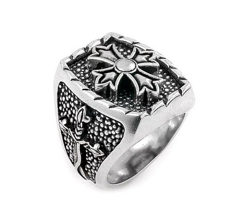 TWISTED BLADE SILVER RECTANGLE RING WITH FLEUR DE LIS CROSS CENTER