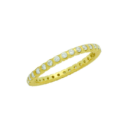 GOLD PLATED XO CIRCULAR DESIGN CZ WEDDING BAND RING