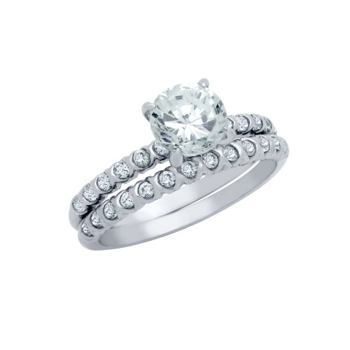 RHODIUM PLATED ROUND CZ CIRCULAR DESIGN ENGAGEMENT RING SET