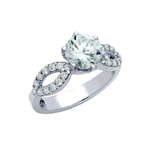 RHODIUM PLATED ROUND CZ WAVE DESIGN ENGAGEMENT RING