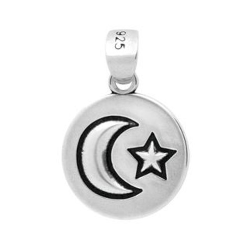 STERLING SILVER MOON AND STAR ROUND PENDANT