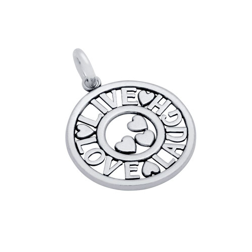 """STERLING SILVER 20MM ROUND """"LIVE LOVE LAUGH"""" HEARTS CHARM"""