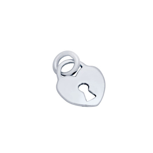 STERLING SILVER HEART SHAPED PADLOCK CHARM