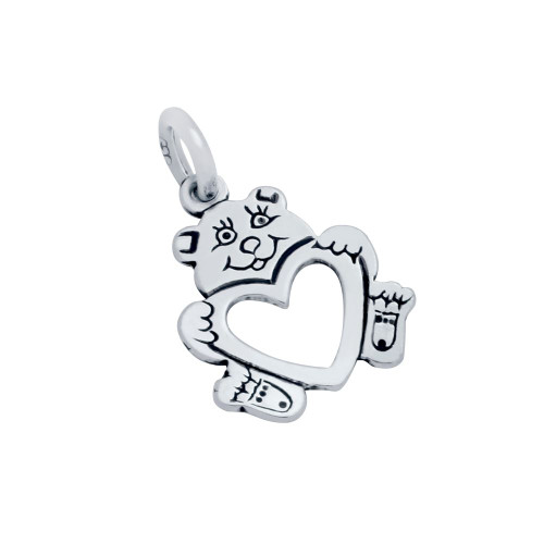 STERLING SILVER TEDDY BEAR AND HEART CHARM