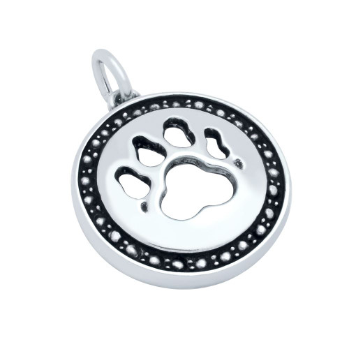 STERLING SILVER PAW PRINT MEDALLION CHARM