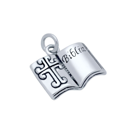 "STERLING SILVER LARGE HOLY BIBLE ""BIBLIA"" CHARM"