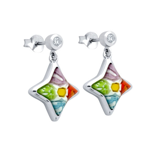 MULTICOLOR MURANO MILLEFIORI 12x12MM STAR SHAPED EARRINGS WITH CZ POST