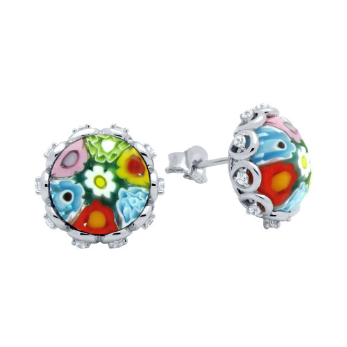 MULTICOLOR MURANO MILLEFIORI ROUND FACETED STUD EARRINGS WITH CZ