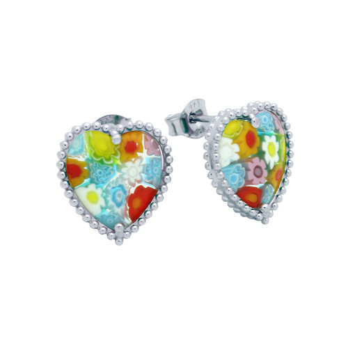 MULTICOLOR MURANO MILLEFIORI HEART SHAPED BEAD DESIGN EARRINGS