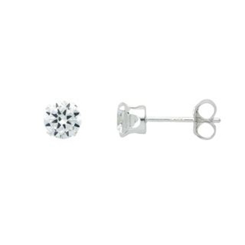 4MM CLEAR CZ STUD EARRINGS
