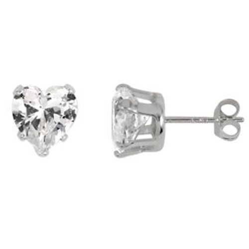 7MM HEART CZ STUD EARRINGS