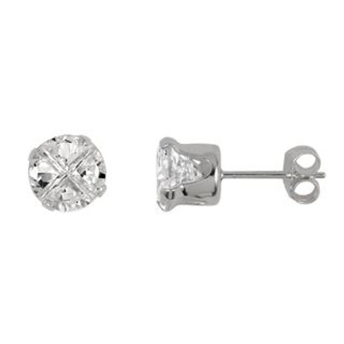 6MM ROUND INVISIBLE CZ STUD EARRINGS