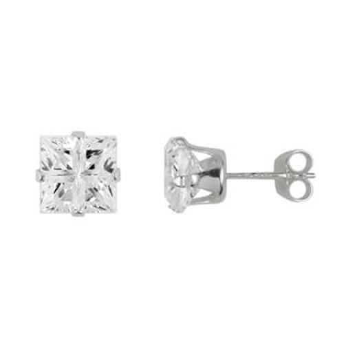6X6MM SQUARE INVISIBLE CZ STUD EARRINGS