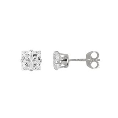4X4MM SQUARE INVISIBLE CZ STUD EARRINGS