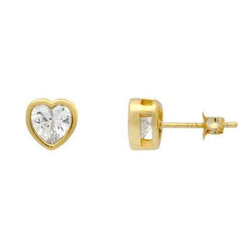 GOLD PLATED 7MM HEART BEZEL SET CZ STUD EARRINGS