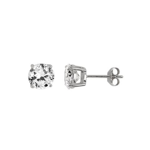 7MM RHODIUM PLATED ROUND BASKET CZ STUD EARRINGS