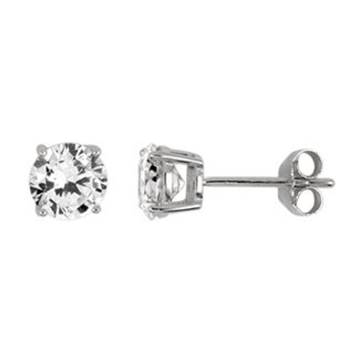 6MM RHODIUM PLATED ROUND BASKET CZ STUD EARRINGS