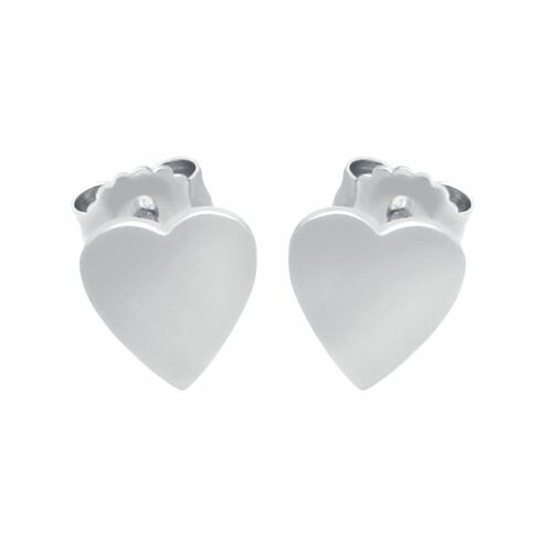 RHODIUM PLATED STERLING SILVER HEART EARRINGS