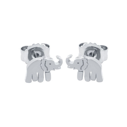 RHODIUM PLATED STERLING SILVER ELEPHANT EARRINGS