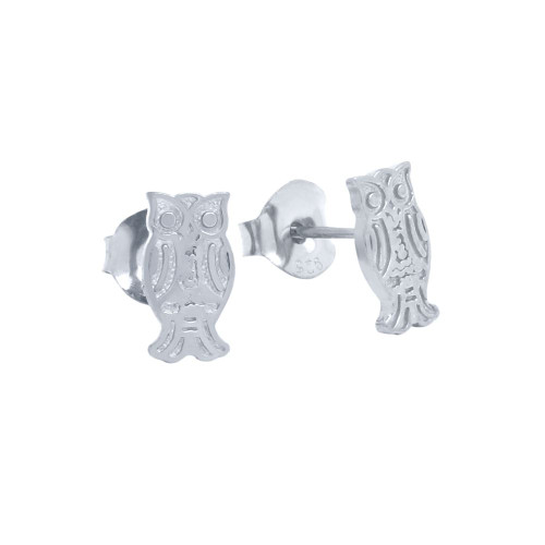 RHODIUM PLATED STERLING SILVER OWL EARRINGS