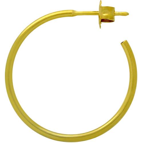 GOLD PLATED 27MM HOOP POST EARRINGS