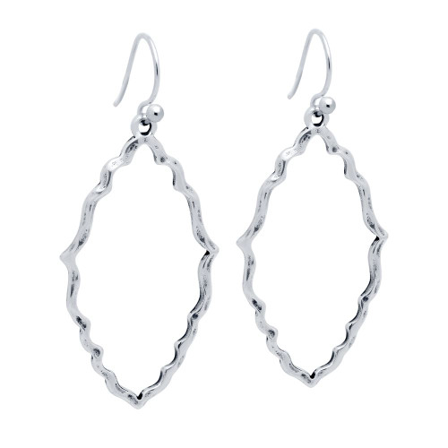 STERLING SILVER HAMMERED FINISH MARQUISE-SHAPED OUTLINE EARRINGS