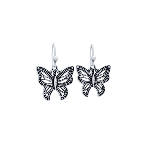 STERLING SILVER 20MM INTRICATE BUTTERFLY EARRINGS
