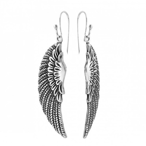 STERLING SILVER 36MM LARGE WING FISHHOOK EARRINGS