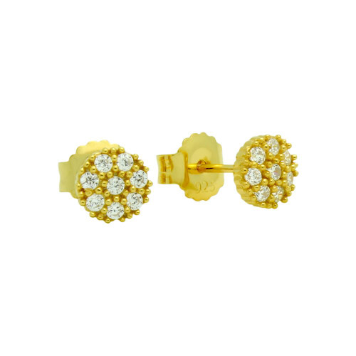 GOLD PLATED PAVE CZ ROUND POST EARRINGS