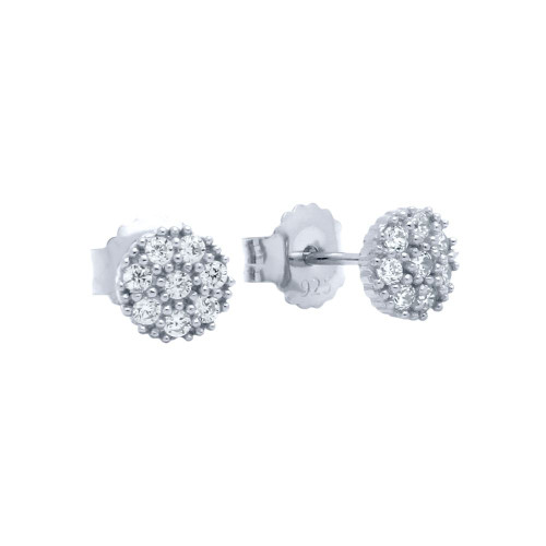 PAVE CZ ROUND POST EARRINGS