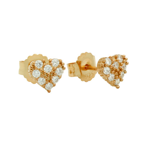 ROSE GOLD PLATED PAVE CZ HEART POST EARRINGS