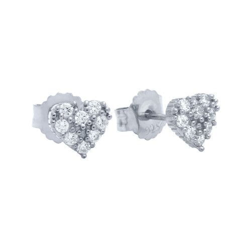 PAVE CZ HEART POST EARRINGS