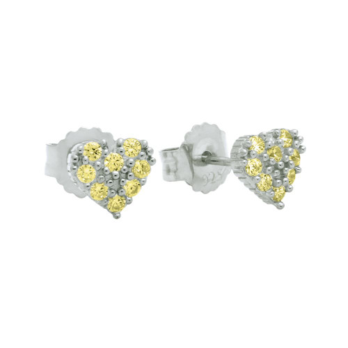 PAVE CZ YELLOW HEART POST EARRINGS
