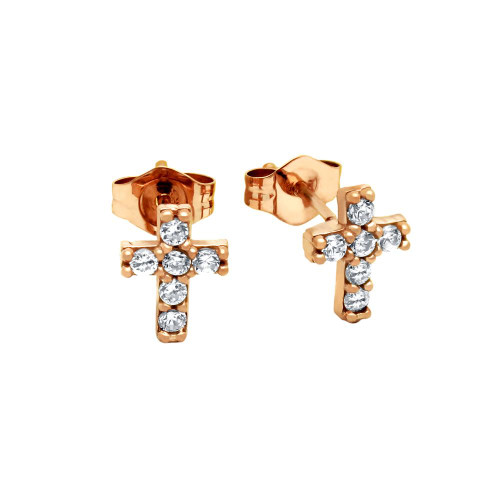 ROSE GOLD PLATED CZ PAVE 7X6MM CROSS STUD EARRINGS
