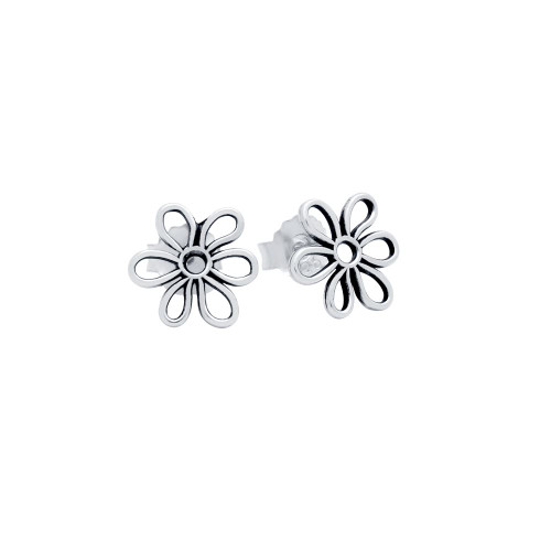 STERLING SILVER 11MM FLOWER OUTLINE STUD EARRINGS
