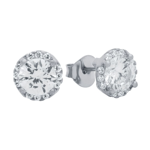 RHODIUM PLATED ROUND CZ EARRINGS WITH ALL AROUND SMALL CZ STONES