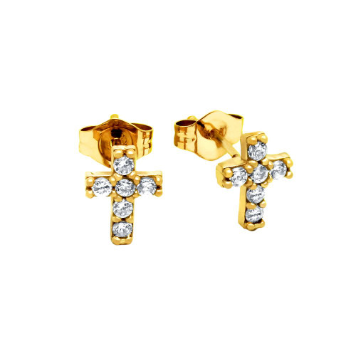 GOLD PLATED CZ PAVE 7X6MM CROSS STUD EARRINGS